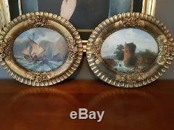 2 Tableaux Anciens 1850 Huiles Sur Panneaux Ovales Ecole Francaise Xix°signes