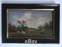 2 tableaux anciens signés. Paysages avec vaches