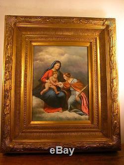 Ancien Grand Tableau Peinture Huile Religieux Vierge A L'enfant Religious Paint