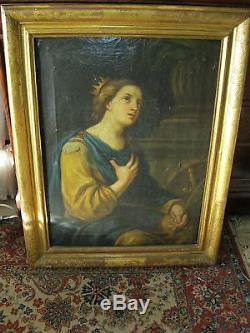 Ancien Grand Tableau Religieux Hst Sainte Catherine D'alexandrie XVIII