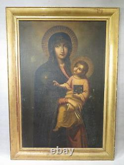 ANCIEN GRAND TABLEAU VIERGE A L'ENFANT JESUS HUILE SUR TOILE EPOQUE XVIII ème