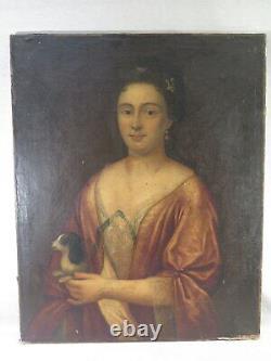 ANCIEN TABLEAU GRAND PORTRAIT DE FEMME AU PETIT CHIEN LOUIS XV EPOQUE XVIII èm