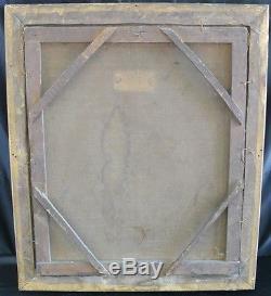ANCIEN TABLEAU HST XIXeme portrait de gentilhomme cadre bois doré peinture