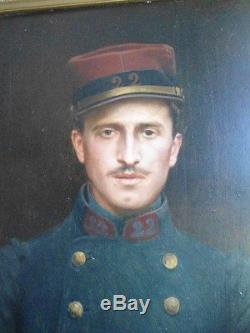 Ancien Tableau Huile Sur Toile Beau Portrait Soldat Signe Sicard Antique Old