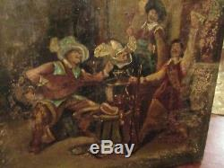 ANCIEN TABLEAU HUILE SUR TOILE SCENE DE TAVERNE EPOQUE XVIII ème s