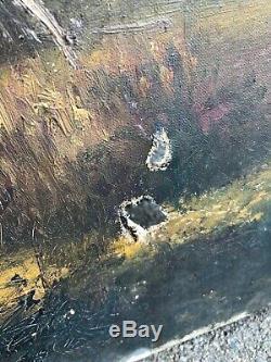 ANCIEN TABLEAU HUILE SUR TOILE SIGNÉ GODCHAUX PAYSAGE CHAMPETRE 19ème 92 x 65 cm