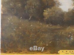ANCIEN TABLEAU HUILE sur PANNEAU signé A. F. CALS 1810 1880