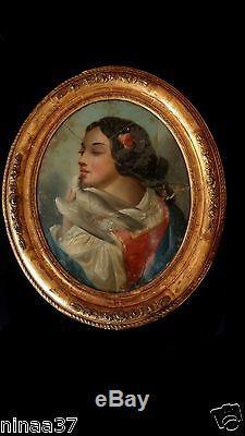 Ancien Tableau Peinture Huile Sur Toile Demoiselle A La Colombe Cadre Bois Dore