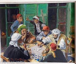 ANCIEN TABLEAU SUPERBE ORIENTALISTE LA PARTIE DE DOMINOS ANNÉES 50- 60