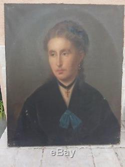 ANCIEN TABLEAU XIX è HUILE SUR TOILE PORTRAIT FEMME SIGNÉ CAVALLI 1873