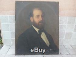 ANCIEN TABLEAU XIX è HUILE SUR TOILE PORTRAIT HOMME SIGNE CAVALLI 1873