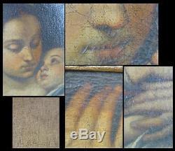 ANCIEN TABLEAU XVIIe HST VIERGE A L'ENFANT cadre bois doré école italie peinture
