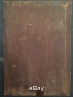 ANCIEN tableau XIXe La Baigneuse Huile sur panneau 19e signée