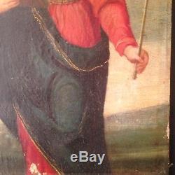 ANCIEN tableau XVIIe XVIIIe Carlo DOLCI Portrait Vierge couronnée Ange Raphael