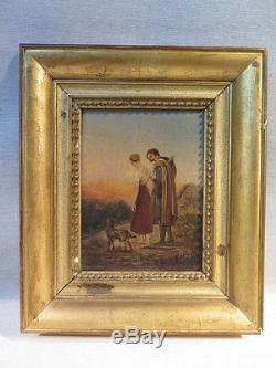 A. Scheffer Ancien Tableau Huile Sur Toile Jeune Couple Paysage Date 1831