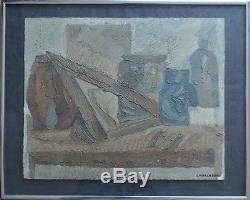 A vendre Tableau ancien avec cadre, Peinture nature morte aux pichets Charchoune