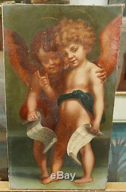 Adorble Tableau Ancien Huile Toile Portrait 2 Anges Ailés Putti Nus Lettre XIXe