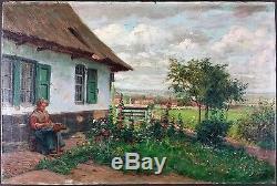 Albert Caullet (Belge, 1875-1950) Ancien Tableau Peinture Huile Original Antique