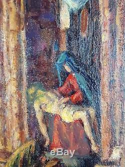 Albert Geudens (Belge, 1869-1949) Ancien Tableau Peinture Huile Oil Painting Old