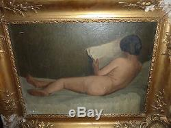 Ancien GRAND splendide tableau Nu peinture huile sur toile. Signé