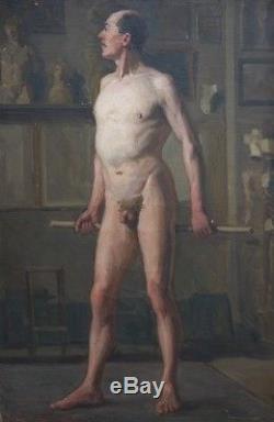 Ancien Grand Tableau Huile Sur Toile Portrait Homme Nu Academique 1882 Oil