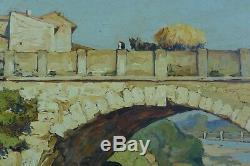 Ancien Grand Tableau Provençal Gustave Vidal Vue animée de Vaison la Romaine