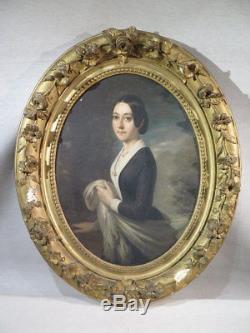 Ancien Joli Tableau Jeune Femme Au Chale Monogramme Lb Date 1841
