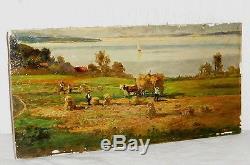 Ancien Peinture à l'huile Tableau Friedrich Otto Hampel Georgi FOH Fenaison