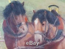 Ancien Tableau Attelage à la Campagne Peinture Huile Antique Oil Painting