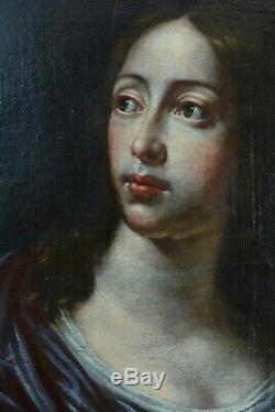 Ancien Tableau Baroque 17e Portrait de Femme St Catherine Caravage sv Martinelli