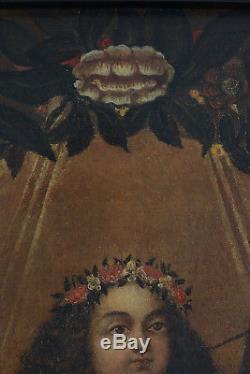Ancien Tableau Baroque Religieux portrait La vierge Enfant Maria Bambina 17e