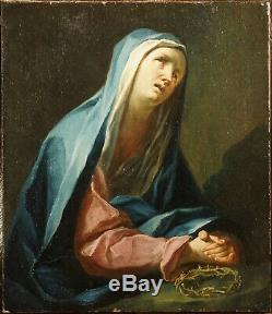 Ancien Tableau Baroque école Autrichenne début 18e Religieux Vierge de douleur