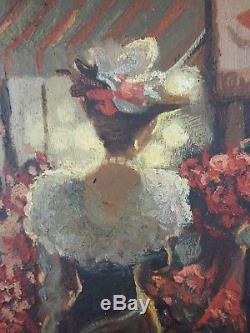 Ancien Tableau Boulevard Parisien le Soir Peinture Huile Antique Oil Painting