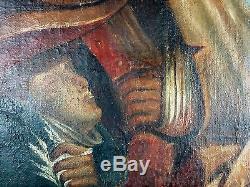 Ancien Tableau Campagne de Russie Peinture Huile Antique Oil Painting