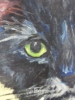 Ancien Tableau Chat Noir Peinture Huile Antique Oil Painting