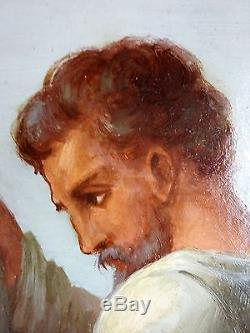 Ancien Tableau Chemin de Croix Peinture Huile Antique Oil Painting