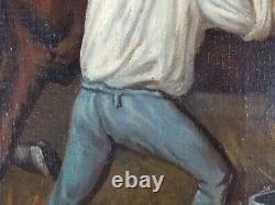 Ancien Tableau Cheval dans l'Ecurie Peinture Huile Oil Painting Ölgemälde
