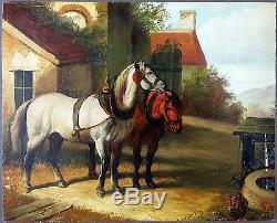 Ancien Tableau Chevaux Peinture Huile Antique Oil Painting