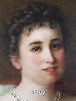 Ancien Tableau Clasine Neuman (1851-1908) Peinture Huile Antique Oil Painting
