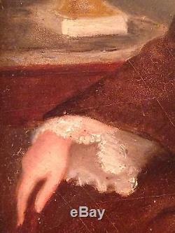 Ancien Tableau Classique XIXe Portrait d'une Dame de Qualité Huile panneau 19eme