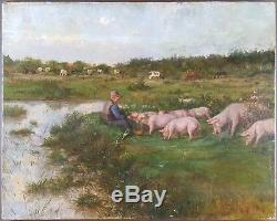 Ancien Tableau Cochons au Pré Peinture Huile Toile Antique Oil Painting