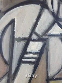 Ancien Tableau Composition Abstraite Peinture Huile Antique Oil Painting Old