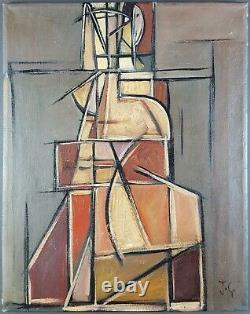 Ancien Tableau Composition Abstraite Peinture Huile Cubisme Painting Ölgemälde