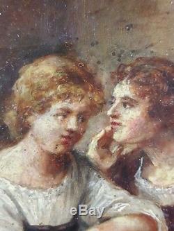 Ancien Tableau Conversation à la Fontaine Peinture Huile Toile Oil Painting