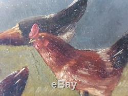 Ancien Tableau Coq et Poules Peinture Huile Antique Oil Painting