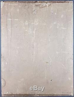 Ancien Tableau Dame Dans Une Robe Bleue Peinture Huile Antique Oil Painting