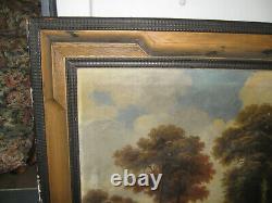 Ancien Tableau De Paysage Cadre En Bois De Style Hollandais A Décor Guilloché