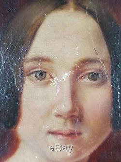 Ancien Tableau Double Portrait Peinture Huile Antique Oil Painting