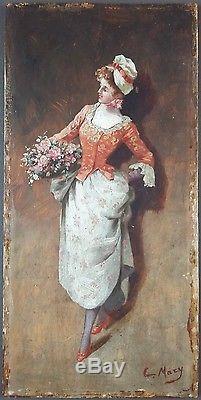Ancien Tableau Elégante Peinture Huile Antique Oil Painting