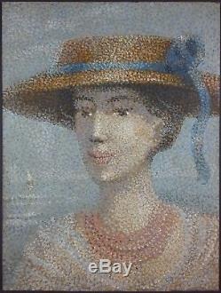 Ancien Tableau Elégante au Chapeau Peinture Huile Antique Oil Painting